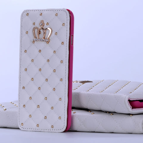 iPhone 6/6S PLUS, 6/6S - Slim, Studded, Diamond Stitch Wallet Case  in Assorted Colors