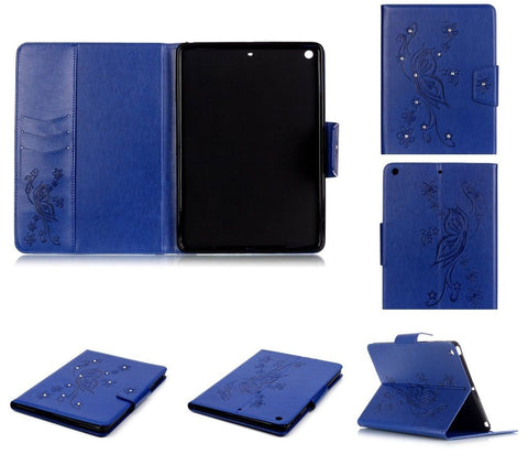 iPad 2,3,4 / Air 2 / Mini 1-3, Mini 4 - Butterfly Bling Padded Cardholder Case in Assorted Colors