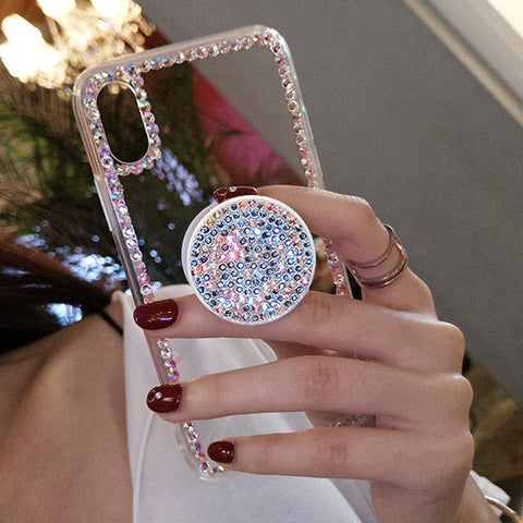 iPhone XS Max, X, XR, XS, 8 Plus, 8, 7 Plus, 7, 6/S Plus, 6/S - Dressy Crystal Clear With Rhinestone Border & Pop Socket Case