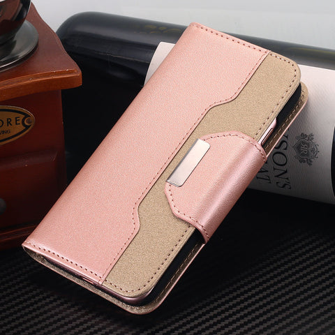 iPhone X, 8 Plus/8, 7 Plus/7 - Elegant 2-Tone Flip Wallet Wristlet Case in Assorted Colors