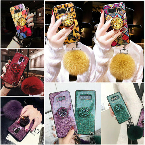 Note 9, 8, S10 Plus/S10, S9 Plus/S9, S8 Plus/S8 - Sensual Sparkle With Pop Socket and Plush Ball Case in Assorted Colors