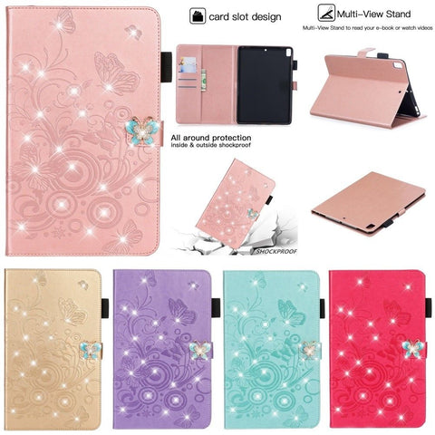 "iPad 6th/5th Gen, 4/3/2, Air 2/1, Pro 12.9"", 9.7"", Mini - Butterfly Rhinestone Compartment Bling Tab Case in Assorted Colors"