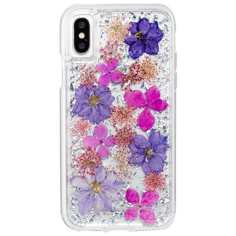 iPhone XS Max, XS, XR, X, 8 Plus/8, 7 Plus/7, 6/S Plus/6S - Pretty Dried Flowers Clear Case in Assorted Colors