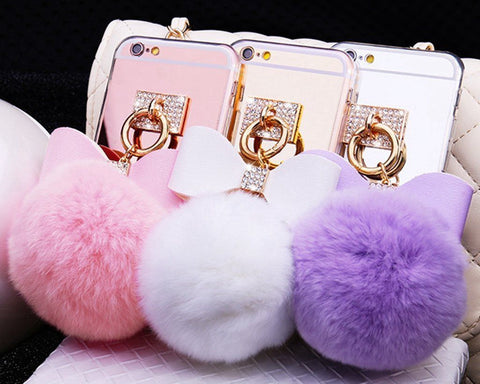 iPhone X, 8 Plus/8, 7 Plus/7, 6/S Plus - Cushy Pom-Pom, Bling Bow Case in Assorted Colors
