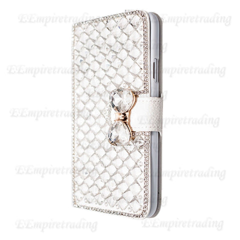 iPhone 6/6S Plus, 6/6S, SE /5/5S - Gem Bow With Rhinestone Borders Wallet Case in Assorted Colors