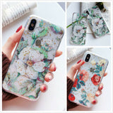 iPhone XS Max, XS, XR, X, 8 Plus/8, 7 Plus/7- Watercolor Flowers Soft Case in Assorted Colors
