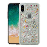 iPhone X  - Falling Glitter Magic With Matching Border Case in Assorted Colors