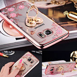 Galaxy Note 8, 5, S8 Plus/S8, S7/Edge - Floral Rhinestone Ring Holder Case in Assorted Colors