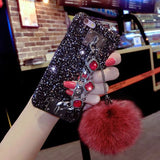 iPhone X, 8 Plus/8, 7 Plus/7, 6S Plus/6S - Soft Pompom Sparkly Gem Strap Case in Assorted Colors