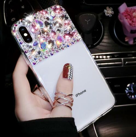 iPhone XS Max, XS, XR, X, 8 Plus/8, 7 Plus/7, 6/S Plus/6/S - Precious Gem Semi Studded Clear Case