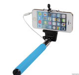 Colorful Selfie Stick - Extendable, Wired, Portrait Photo Phone Holder in Assorted Colors