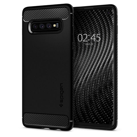 Galaxy S10, S10 Plus Case - Rugged Performance Spigen Black Case
