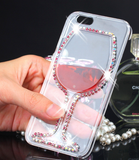 iPhone 6 Plus, 6, 5/5S - Rhinestone Red Wine Glass Clear Case in Assorted Designs