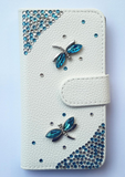 ZTE ZMAX - Pristine White With Crystal Dragonfly Card Holder Wallet Case