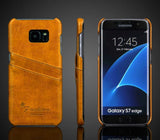 Galaxy S7 Edge - Sleek Double Card Slot Back Case in Assorted Colors
