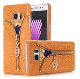Galaxy S7 - Glamorous Faux Crocodile Leather with Zipper Card Holder in 5 Colors