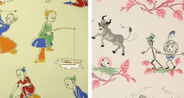 Vintage 1930s and 1940s children's wallpaper