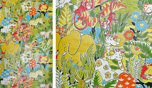 Vintage 1970s jungle children's wallpaper