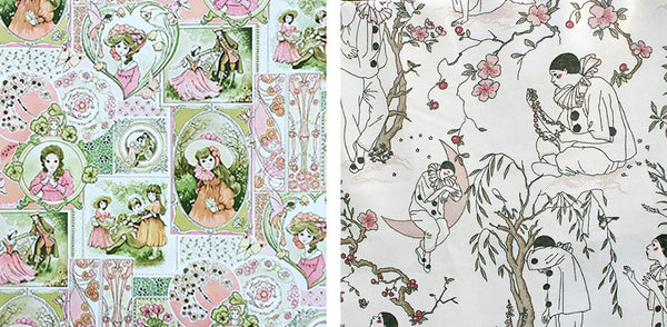 Vintage 1980s children's wallpaper, Pierrot