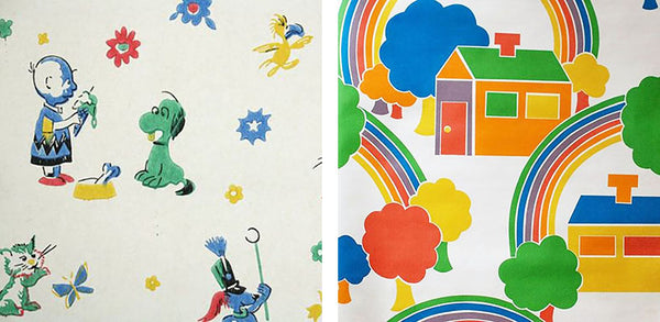 1960s and 1970s vintage children's wallpaper, rainbow