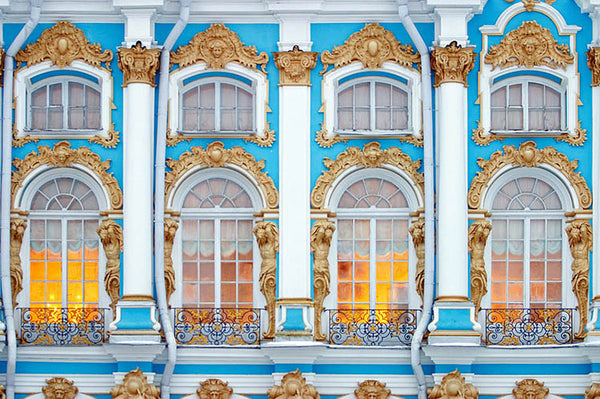 Catherine Palace Rococo facade, gilded in gold