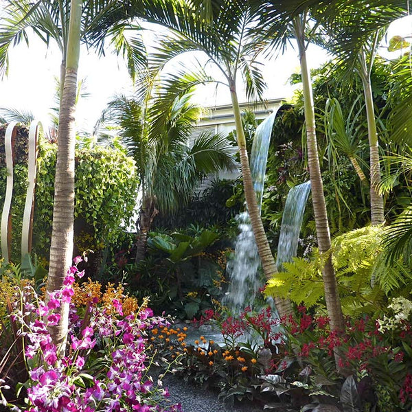 Tropical garden with waterfall at Chelsea Flower Show