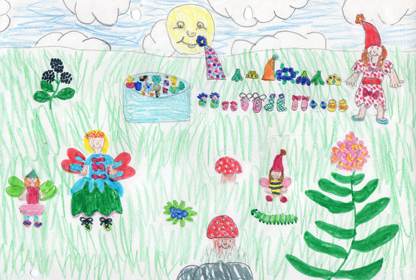 Childhood drawing of fairies and flowers