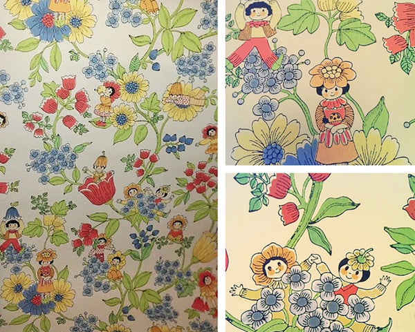 Vintage 1940s children's wallpaper