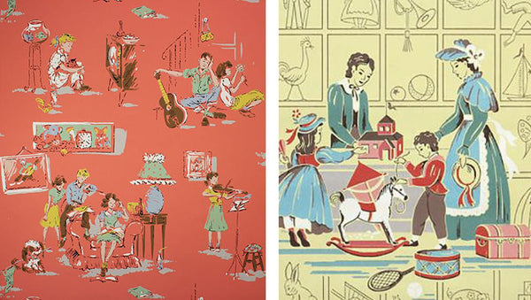 Vintage 1940s 1950s children's wallpaper