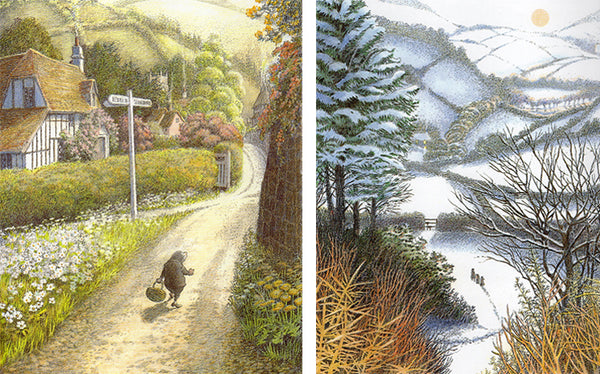 Inga Moore illustrations of Mole in sunny countryside and animals in a snowy scene