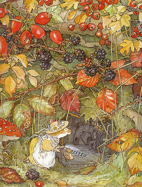 Jill Barklem illustration of mouse in Autumn scene with berries