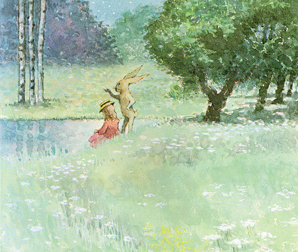 Maurice Sendak illustration of rabbit and girl sat by lake in twighlight