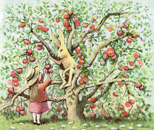 Maurice Sendak illustration of rabbit and girl picking apples