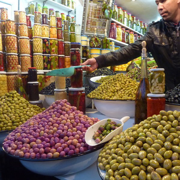 Colourful olives in the Marrakech souk