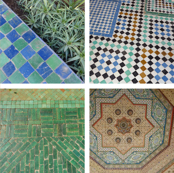 Moroccan patterned tile work in blues and greens