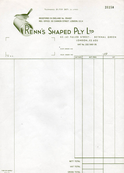 Renn's Shaped Ply and Wren bird logo