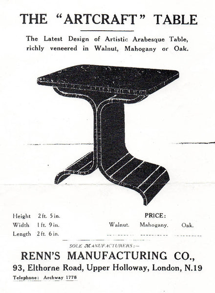 Renn's Shaped Ply advert for Art Deco table