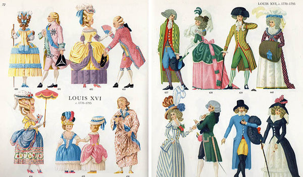 Rococo fashion illustrations from the book, Costume Cavalcade