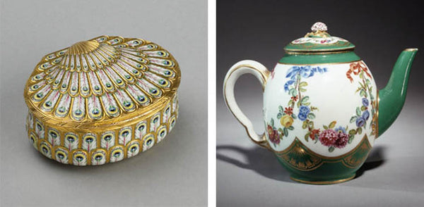 Small box decorated with a peacock design and floral Rococo teapot, from the Wallace Collection