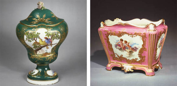 Rococo green vase and pink vase from the Wallace Collection