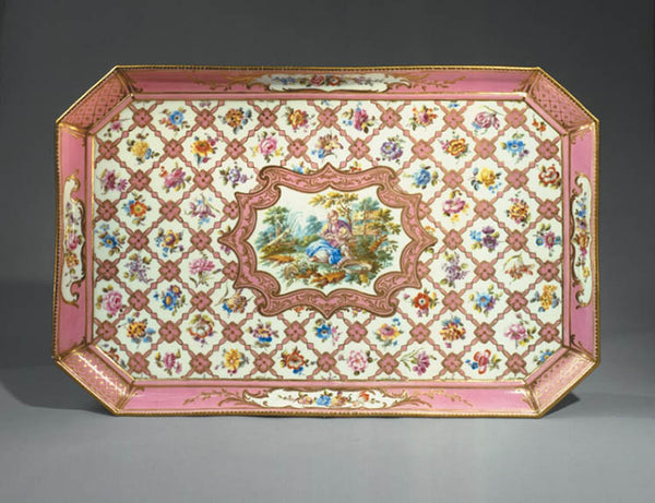 Pink and gold Rococo tray from the Wallace Collection