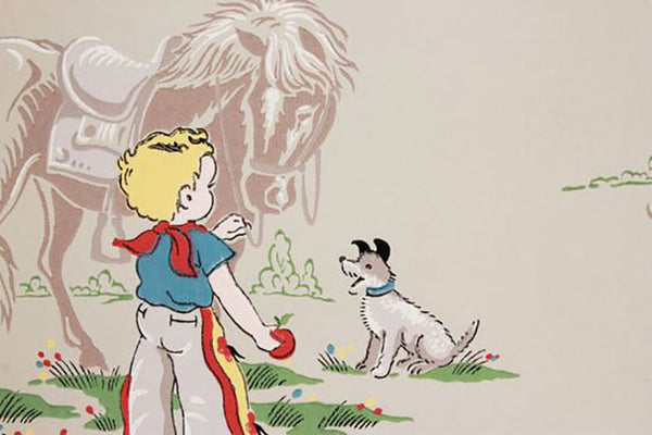 Vintage children's cowboy wallpaper