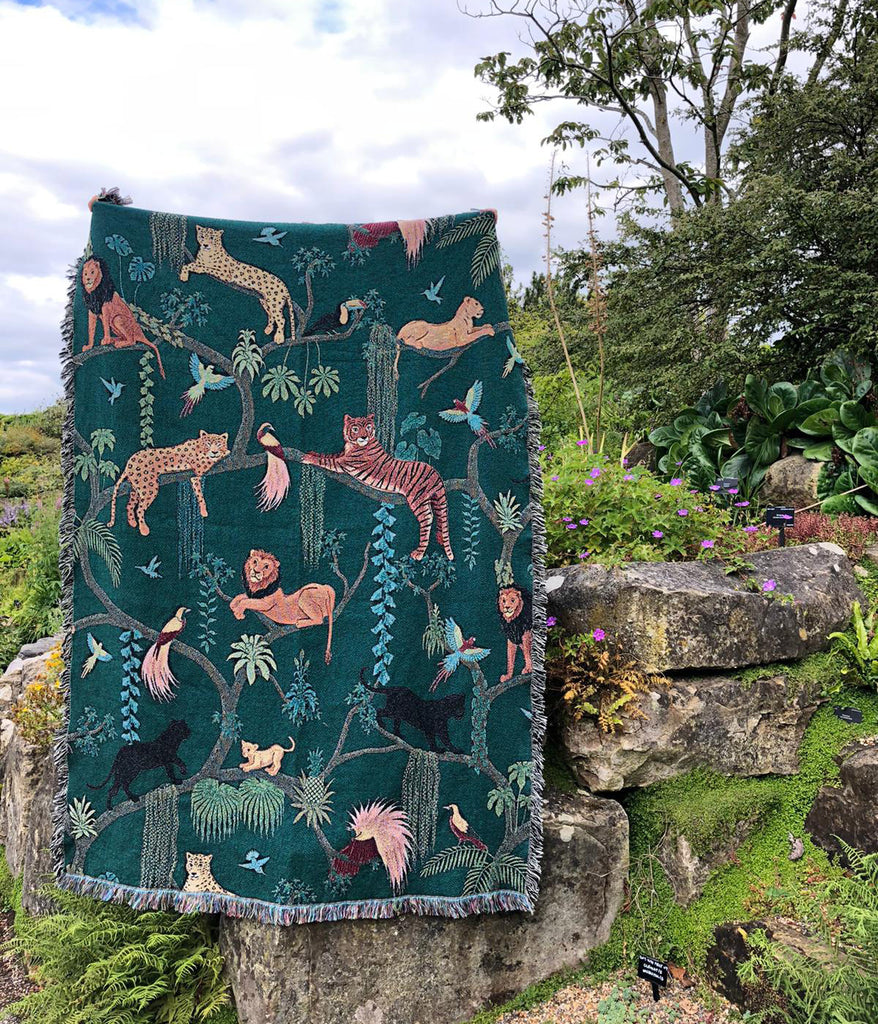 Woven Cotton Big Cats Blanket