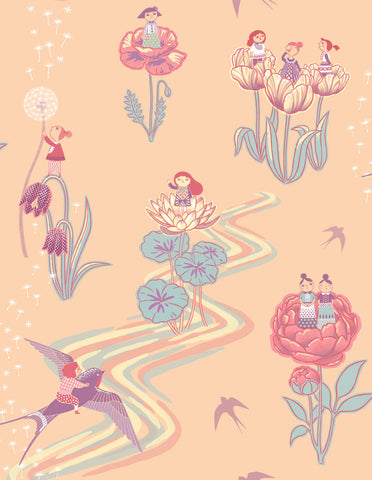 Thumbelina Wallpaper Sample - Peach