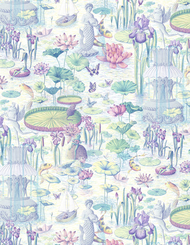 Waterlily River Wallpaper Sample - Pastel