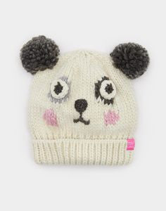 joules panda knitted hat