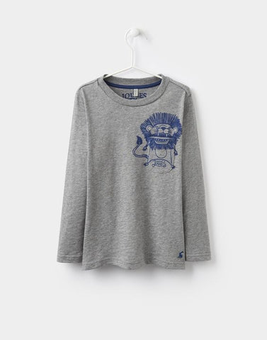 joules grey mark jersey top for boys - with a lion on the pocket