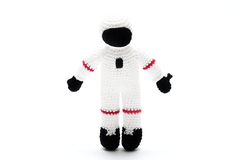 Space man rattle - astronaut by pebble - knitted