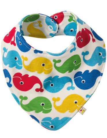 Frugi Rainbow Whales dribble bib,  Mini Mi