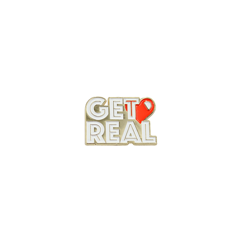 Get Real, enamel pin badge  from Bermuda Press and Hello Apparel - UK, Mini Mi